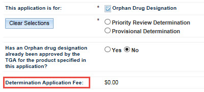 Screenshot: Determination Application fee fields