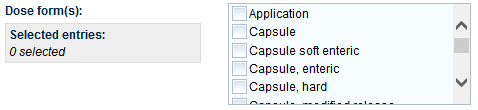 Screenshot: Dose form(s) field and selection list