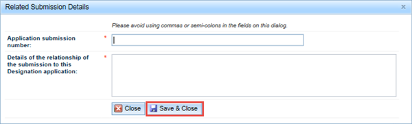 Screenshot: Related submission details fields