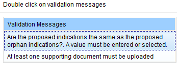Screenshot: Validation messages pane with example messages