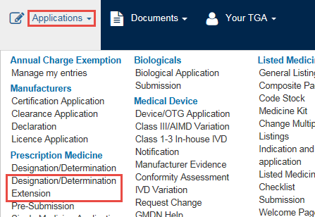 Screenshot showing position of Designation/Determination Extension in Applications menu