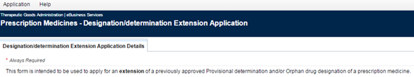 Screenshot showing Designation/determination Extension Application Details tab