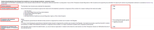 Screenshot showing orphan drug desigation extension fields and explanatory text