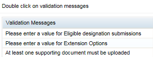 Screenshot showing validation messages window