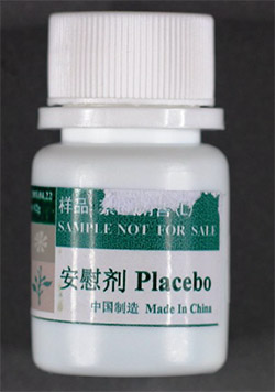 Front view of counterfeit Placebo tablets container