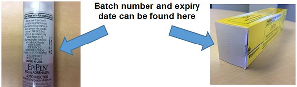 Demonstration of batch number location on EpiPen label and carton