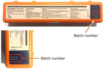 Photos of the GlucaGen HypoKit highlighting the location of the batch number