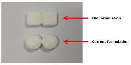 old formulation square tablets and new formulation round tablets