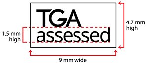 picture showing dimensions of TGA assessed symbol