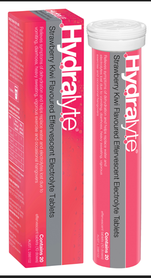 Hydralyte packaging for strawberry kiwi effervescent electrolyte tablets