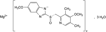 Chemical structure of esomeprazole as magnesium trihydrate