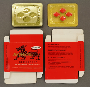 Jinqiangbudor Red Dragon package and tablets
