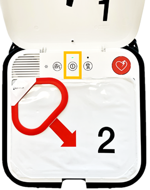 Image of the LIFEPAK CR2 AED Defibrillator highlighting the On/Off Button