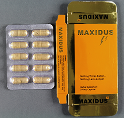 Maxidus Packaging and tablets