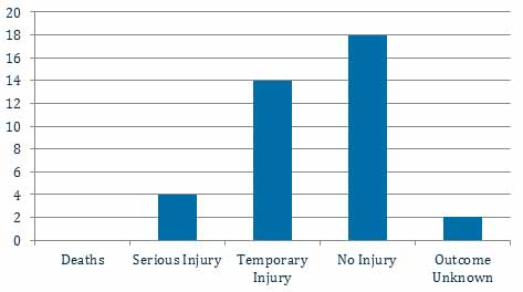 Bar chart: Deaths: 0; Serious injury: 4; Temporary injury: 14; No injury: 18; Outcome unknown: 2