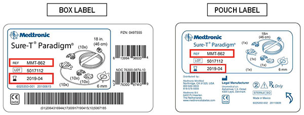 Medtronic MiniMed Sure-T infusion set box and pouch labels
