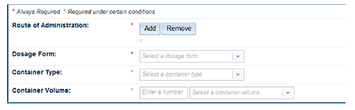 Screen shot of required and conditionally required fields.