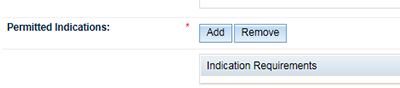 screenshot of Permitted indication 'add' button.