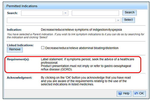 screenshot showing Permitted Indications highlighting Requirement(s)