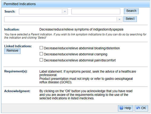 screenshot showing Permitted Indications Linked Indications