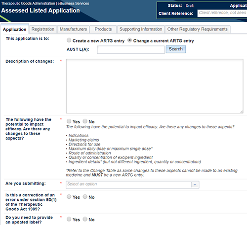 screenshot of Assessed Listed Application tab