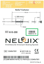 Next Generation Nellix label showing corresponding F-level number F00515.