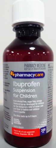 Bottle of Pharmacy Care ibuprofen suspension for children