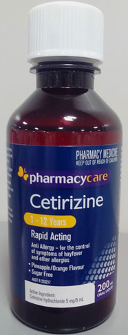 Bottle of Pharmacy Care cetirizine oral solution for 1 to 12 years