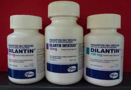 Front view of pill bottles of Phenytoin (Dilantin)