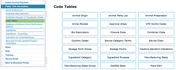 screenshot showing Code Tables under Public TGA Information in the TBS portal