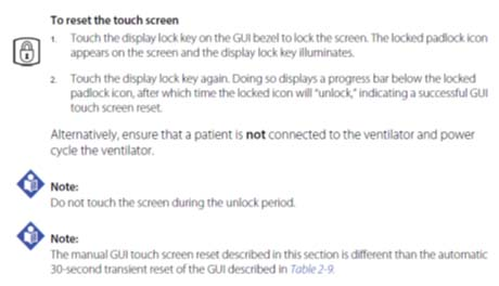 Screenshot of how to reset the touch screen
