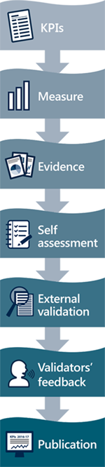 Self-assessment steps: KPIs, Measure, Evidence, Self assessment, External validation, Validators' feedback, Publication