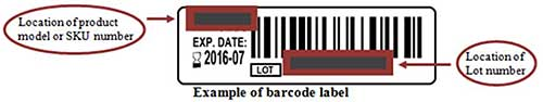 Example of barcode label showing the location of product model or SKU number and the Lot number