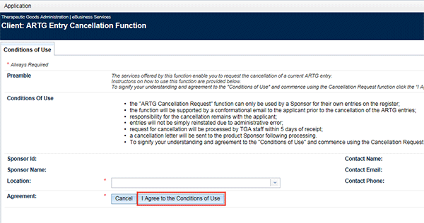 Screenshot of TGA Business Services portal: I agree to the Conditions of Use button