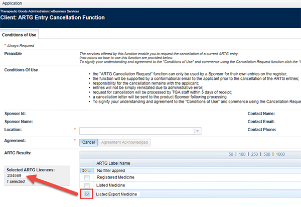 Screenshot of TGA Business Services portal: ARTG entry with checkbox ticked and entry information appearing in shaded box on left of screen