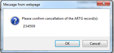 Screenshot of TGA Business Services portal: Message and button to confirm cancellation of ARTG record