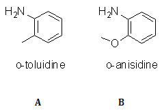 Chemical structures of <em>o</em>-toluidine (A) and <em>o</em>-anisidine (B)