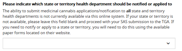 screenshot showing field to indicate which state or territory health department to notify or apply to