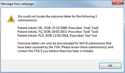 screenshot showing message that the outcome letter is not available