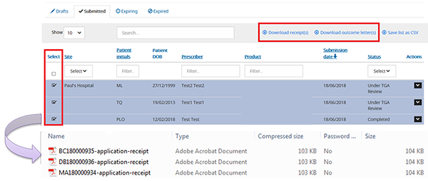 screenshot showing selecting submissions and downloading receipts