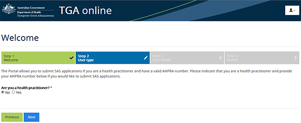 screenshot of SAS Online welcome page
