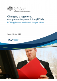Download Changing a registered complementary medicine RCM: application levels and changes tables