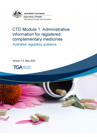 Download CTD Module 1: Administrative information for registered complementary medicines - Guidance for applicants