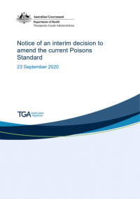 Download Notice of an interim decision to amend the current Poisons Standard