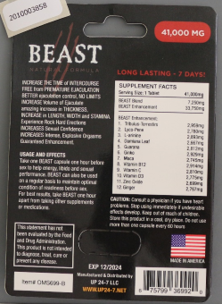 Beast Natural Formula packing - back view