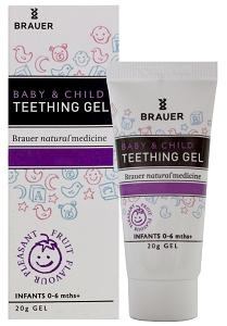 Brauer teething gel and packaging