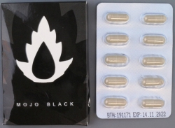 Mojo Black capsule packaging and tablets
