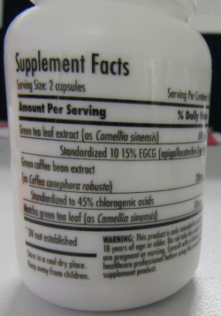 Bottle of Nutra Organics Green Tea Extract capsules.  Rear view.