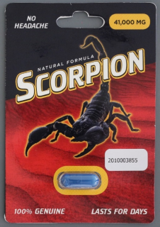 Scorpion capsule and front of packaging