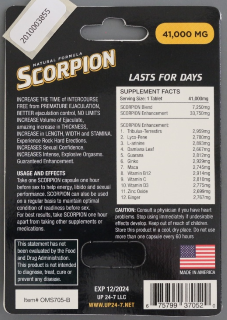 Scorpion packaging - back view